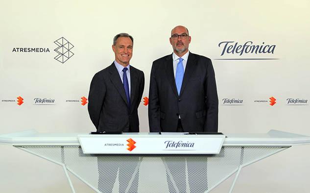 El acuerdo fue cerrado por Silvio González, consejero delegado de Atresmedia, y Emilio Gayo, presidente de Telefónica España