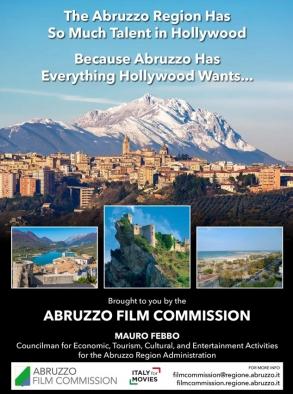 Anuncio oficial promocional de la Abruzzo Film Commission publicado en las páginas del VideoAge Daily, en la edición de MIPCOM 2019.