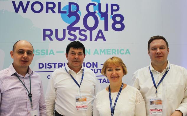 El equipo de RSCC Russian Satellite Communications en Andina Link: Dimitry Shelukhin, Sergey Tsekhmistrov, Luidmila Mikhaylina y Andrey Kirillovich.