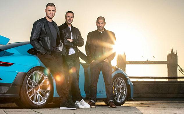 """Chris Harris, Paddy McGuinness y Freddie Flintoff, el nuevo trío de """"Top Gear""""."""