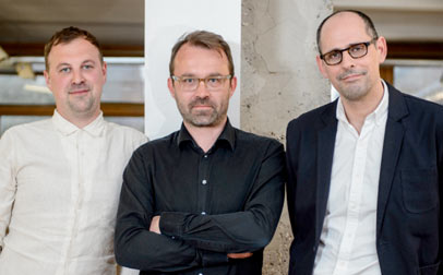 L-R Alex Morris, Creative Director; Sam Barcroft, CEO; Caspar Norman, Managing Director