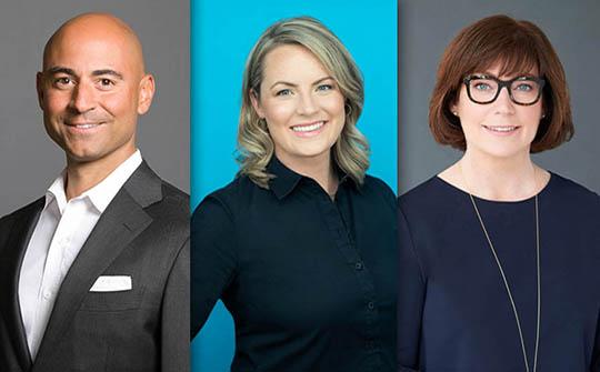 Damon Berger, director de Marketing (CMO); Stephanie Betts, directora de Contenido (CCO), y Deirdre Brennan, directora de Operaciones (COO).
