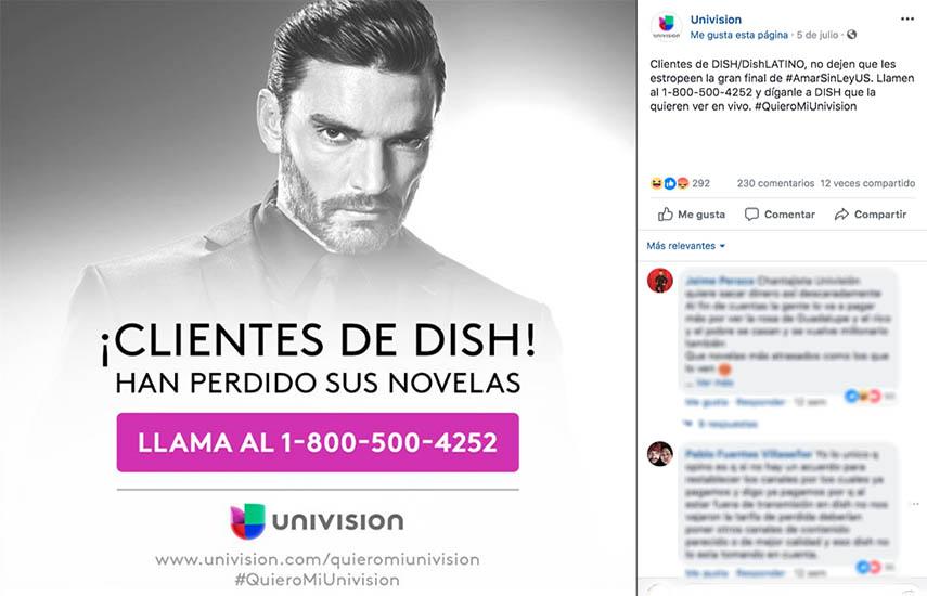 Univision está utilizando toda la capacidad promocional de su compañía, para instar a los suscriptores de Dish a que obtengan la programación que desean de otros proveedores. (Foto: Facebook.com/univision)