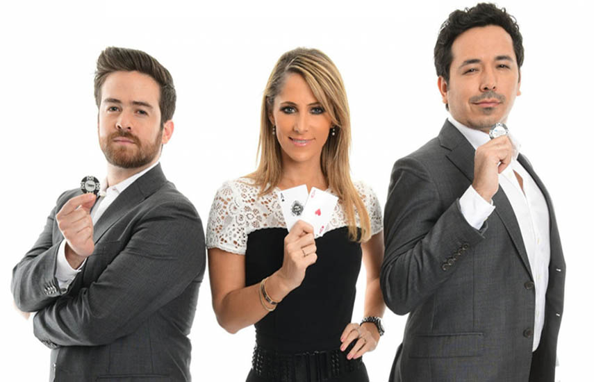 El actor y director Santiago González, Inés Sainz, conductora de televisión especializada en deportes y Ángel Guillen, de los mejores jugadores mexicanos de póker, conducen el programa.