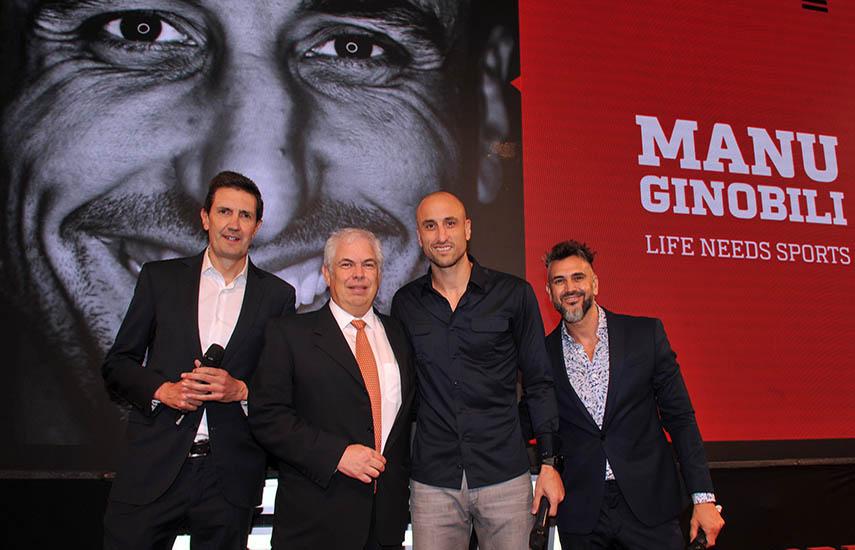 El crack argentino de la NBA, Manu Ginóbili, que con 40 años viene de anunciar su retiro de la actividad, fue la gran sorpresa y el mayor atractivo del upfront de la cadena deportiva.