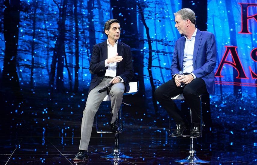 Reed Hastings, cofundador de Netflix y José María Álvarez Pallete, presidente ejecutivo de Telefónica.