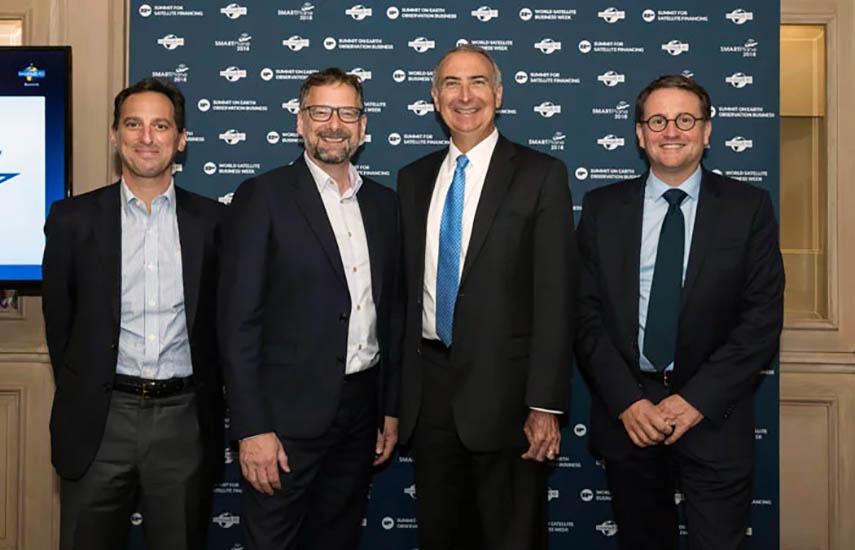 Dan Goldberg (Telesat), Steve Collar (SES), Stephen Spengler (Intelsat) y Rodolphe Belmer (Eutelsat), tras conformarse el consorcio.