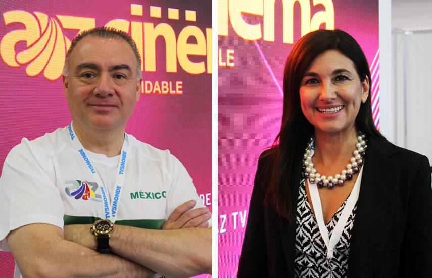 Jorge Gutiérrez, director de ventas internacionales y Patricia Jasín, VP de Azteca Internacional.