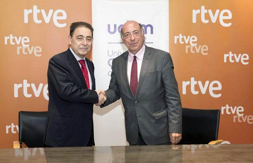 Federico Montero, director general corporativo de RTVE, y Juan Romo, rector de la UC3M.