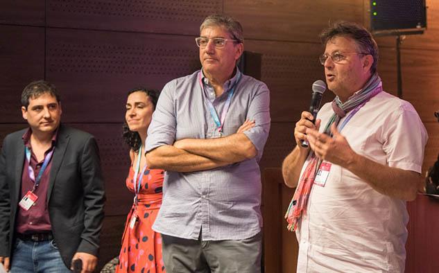 Ralph Haiek y Jerome Paillard, durante los discursos de cierre en la capital argentina.