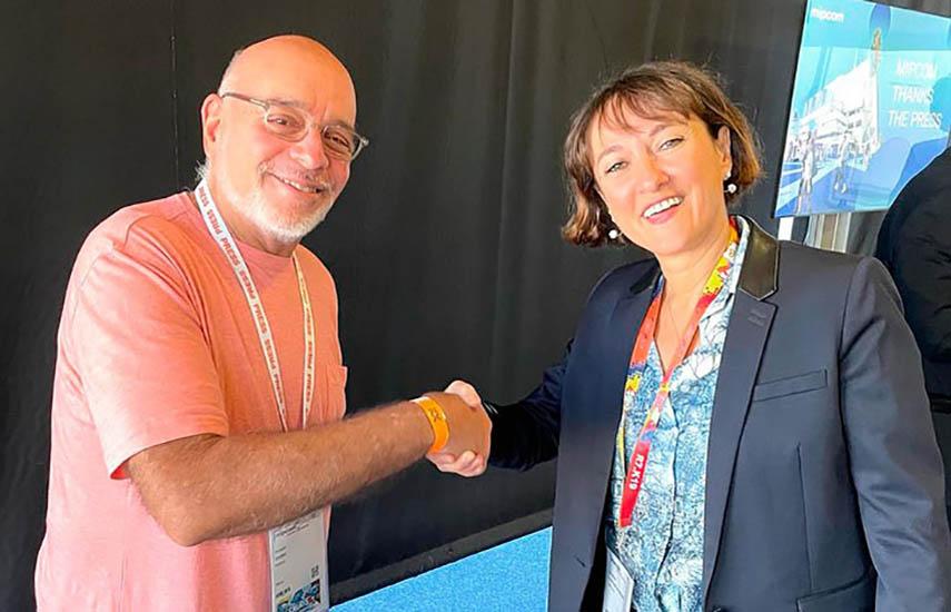 Ríchard Izarra, fundador y presidente de PRODU, y Bénédicte Touchard de Morant, directora de MIP Cancun.