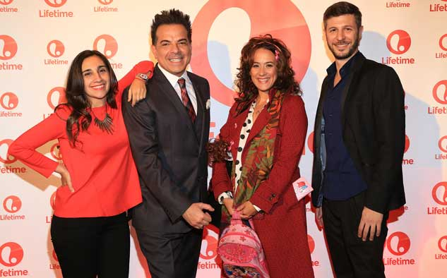 Lucia Conde (Kerly), Cesar Sabroso, SVP de Marketing de A+E Networks Latin America, Julieta Otero (Roxi) y Lucas Mirvois (La Maldita) en la presentación oficial de Lifetime en Argentina.