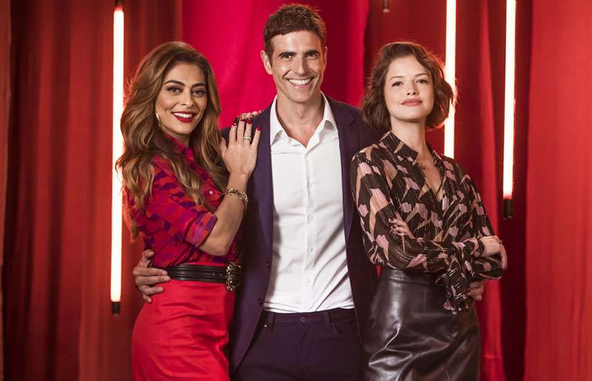 Maria da Paz (Juliana Paes), Régis (Reynaldo Gianecchini) y Josiane (Agatha Moreira), los protagonistas del gran éxito de Globo.
