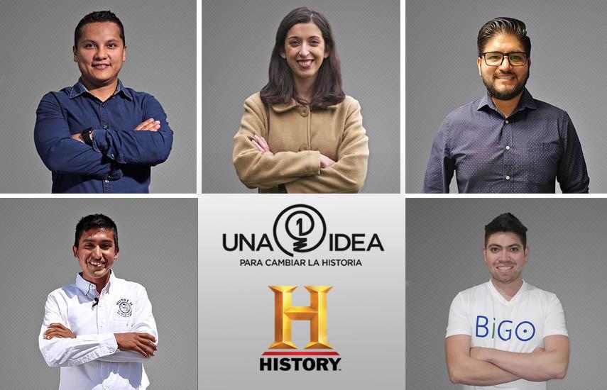 De izq. a derecha los finalistas del Proyecto: Carlos Obando (Ecuador), Carolina Chávez (Chile), Jan Andrei Merino (México), Julio Garay Barrios (Perú) y Alexander Nieves (Colombia)