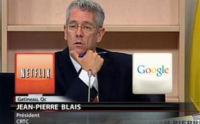 A screenshot of CRTC Chairman Jean-Pierre Blais during Netflix testimony at the CRTC
